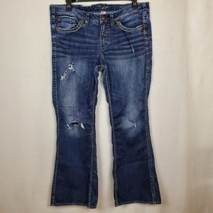Silver jeans Frances distressed bootcut sz 18
